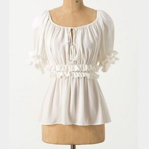 Anthropologie | Ruched Peasant Top size 12